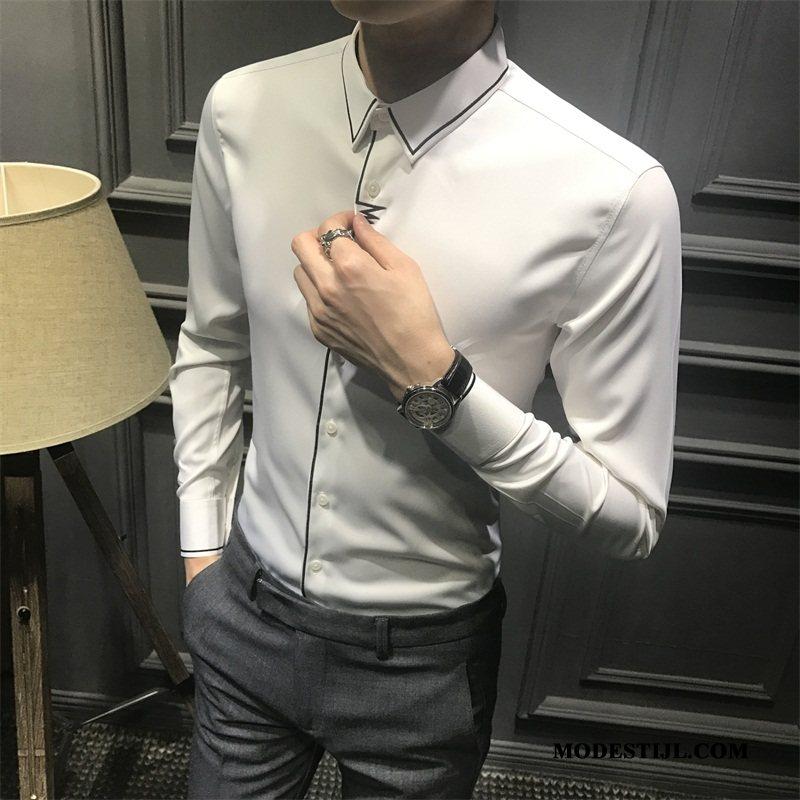 Heren Overhemden Goedkoop Slim Fit Trend Mannen Voorjaar Lange Mouwen Wit
