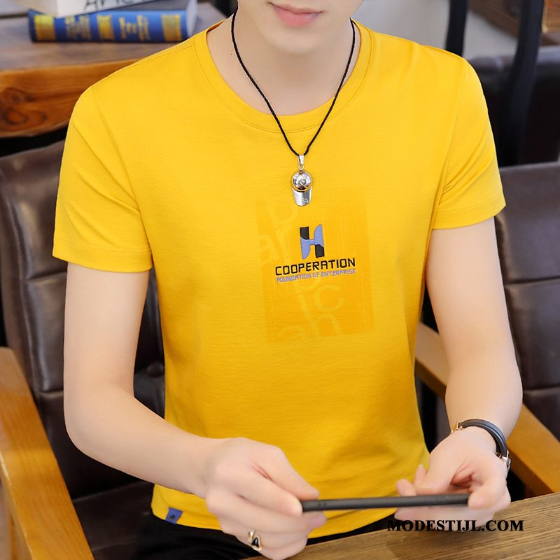 Heren T-shirts Sale Korte Mouw Trend Halve Mouw Trendy Merk Eenvoudige Geel