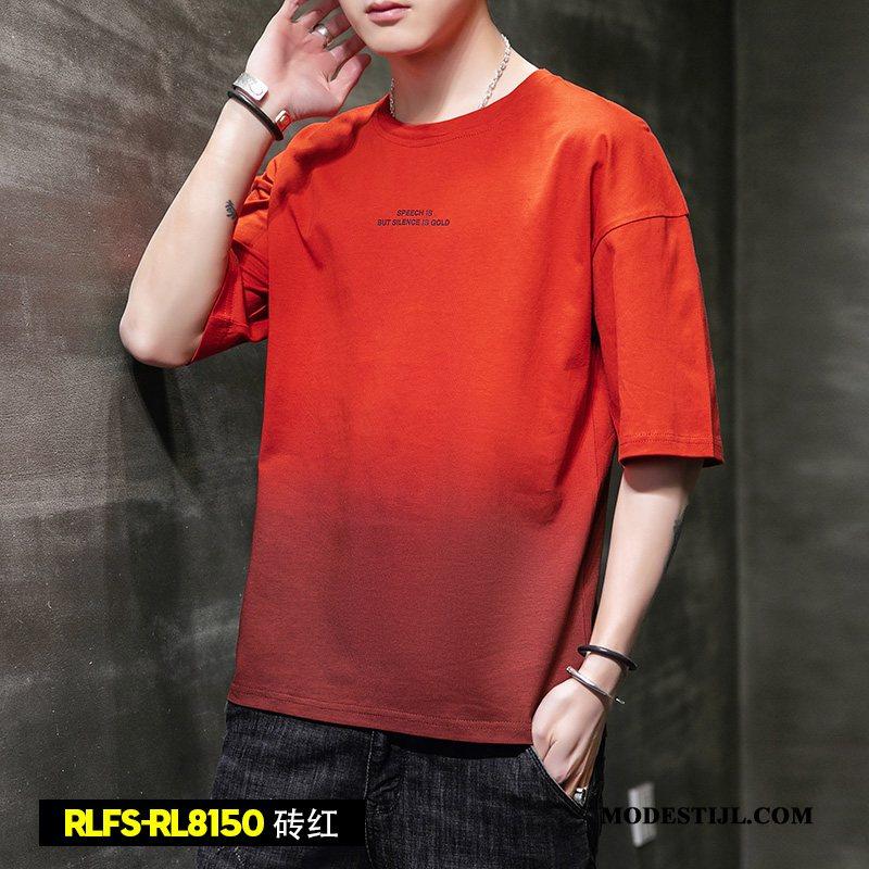 Heren T-shirts Sale Trend Korte Mouw Losse Trendy Merk Zomer Kleurverloop Grijs