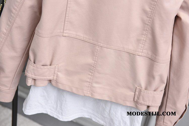 Dames Leren Jassen Korting Mode Voorjaar Nieuw Mooi Leer Roze