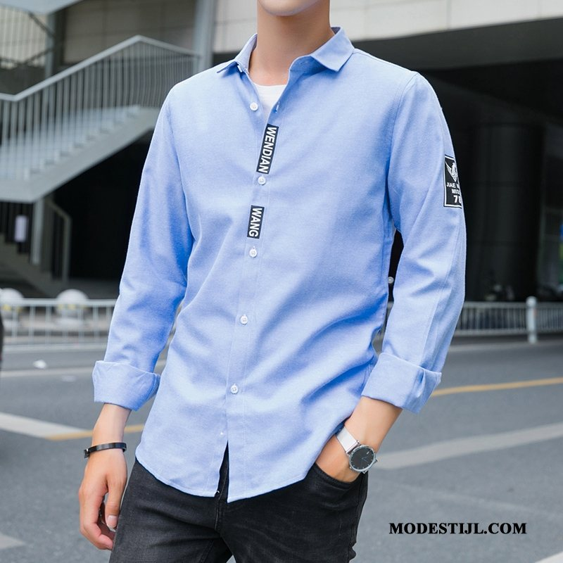 Heren Overhemden Aanbiedingen Mannen 2019 Lange Mouwen Trend Dunne Blauw